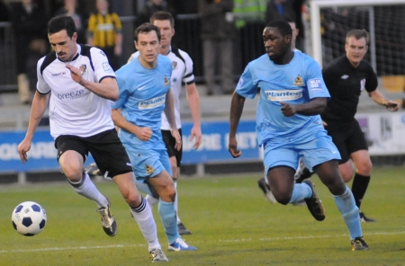 Eyes down as Dartford go on the offensive as they look for another goal