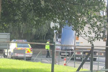 Police at the scene of a crash in which a man was hit by a lorry in Deal