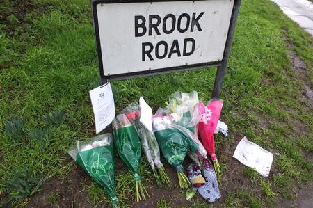 Floral tributes to Victoria Woodbridge in London Road, Swanley
