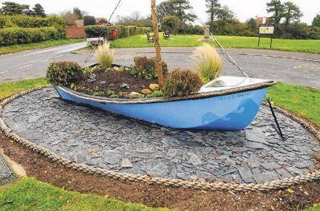 Boat on roundabout at St Margaret's