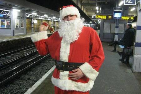 Commuter Jon Douglas dressed as Father Christmas last year