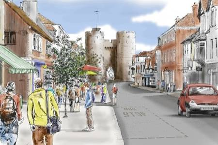 An artist's impression of how a pedestranised St Dunstan's might look