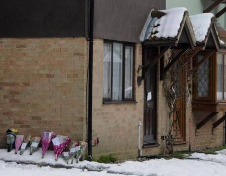 Floral tributes at the spot where Bernadette Lee died in the snow