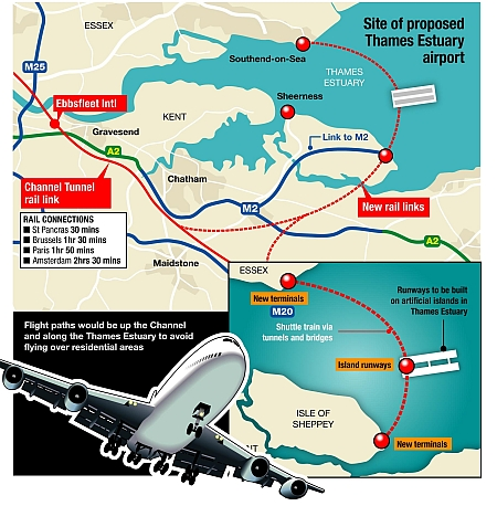 A graphic showing how an island airport in the Thames Estuary off the north Kent coast might work. Graphic: Ashley Austen