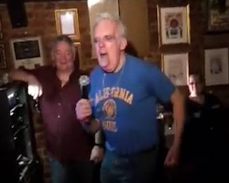 Michael Devine sings the Prodigy's Firestarter at The Three Horseshoes pub in Hernehill