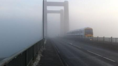 Fog at Kingsferry Bridge on the Isle of Sheppey today