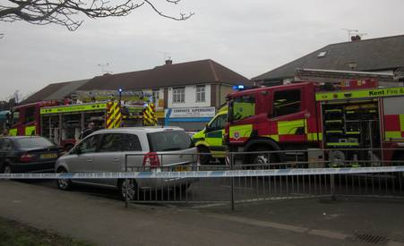 Emergency services at the scene of a bus crash in Gravesend