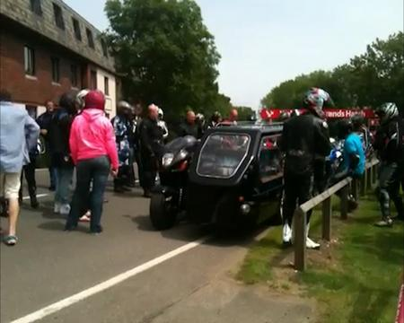 A hearse at Luke Leary's funeral at Brands Hatch.