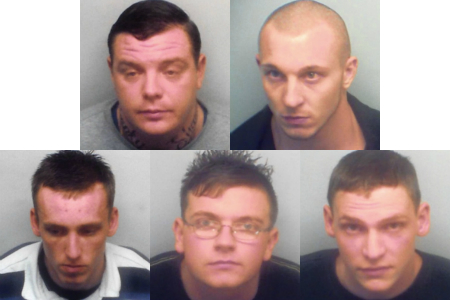 Raid gang: top from left, Danny Stevenson and Adam Green, bottom from left, Jamie Rustage, Frank Harris and James Clark
