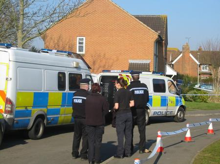 Police at the scene in St Theresa's Close, Ashford