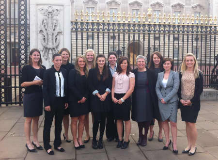 Kent Women's cricket team ahead of their visit to Buckingham Palace