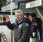 New Dover Athletic manager Chris Kinnear acknowledges the fans at Crabble.