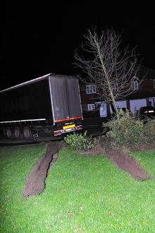 The foreign lorry driver caused damage to the grass verge as he tried to turn his vehicle around after getting stuck in Chetney View, Iwade.