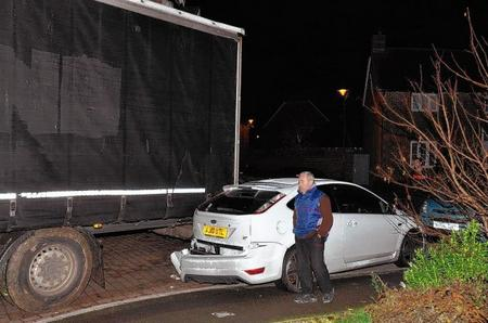 The foreign lorry driver crashed into a car as he tried to leave Chetney View, Iwade, after getting stuck in the narrow residential street