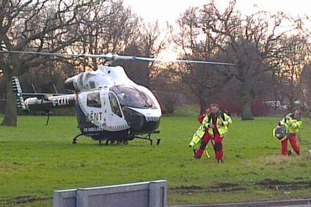 Medics arrive after a schoolgirl is knocked down in Ashford. Picture: Heather Abbott
