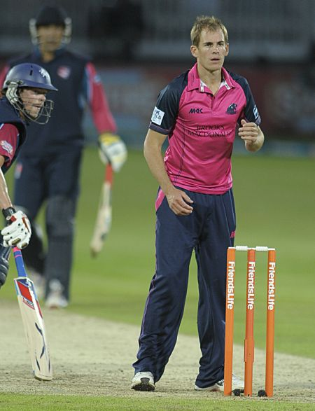 Former Kent bowler and Middlesex skipper Neil Dexter claimed 3-22.