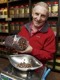 John Baldock runs the UK's first-ever vegetarian sweet shop, Sweet Expectations, in High Street, Rochester