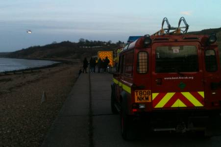 The coastguard helicopter leaves the scene of the mud rescue at Minster