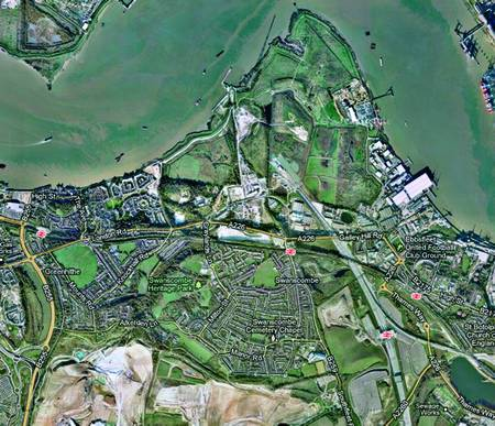 The proposed site covers virtually all the green areas on this map, stretching from the small Swanscombe harbour, top, as far as the new Ingress Park homes development, middle left, it crosses the A226 main road and includes Swanscombe Heritage Park, lower left, Ebbsfleet International station, lower right, as well as the Northfleet industrial park, centre right. Picture: Google maps