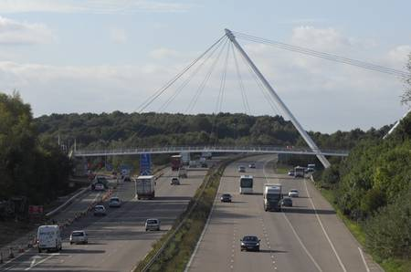 The Eureka Skyway footbridge over the M20 at Ashford