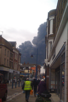 Smoke from a fire at the docks is descending over Sheerness
