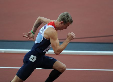 Kent athlete Jack Green races in the 400m hurdles semi-final
