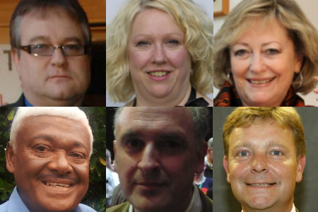 Candidates in the Kent police commissioner election: Steve Uncles, Harriet Yeo, Ann Barnes, Dai Liyange, Piers Wauchope and Craig Mackinlay