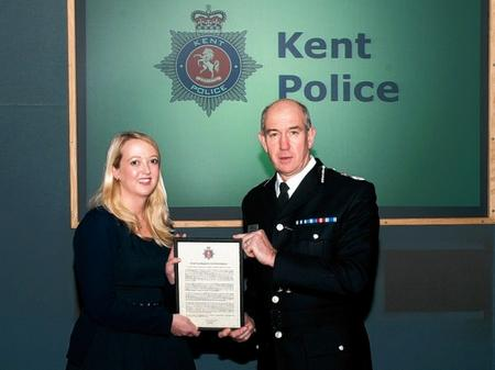 DC Emily Hooper, who currently works within the Nackington Combined Safeguarding Team but was based at Sittingbourne as a child abuse investigator, received a Chief Constable's Commendation award for her commitment and determination after investigating a number of child abuse cases.
