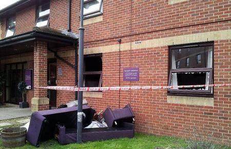 Damaged furniture outside Folkestone's Premier Inn after a bedroom fire