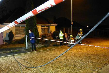 This fallen electricity cable sparked a shed fire in Shorncliffe Road, Folkestone