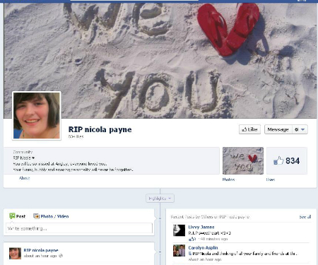Facebook group in memory of Nicky Payne