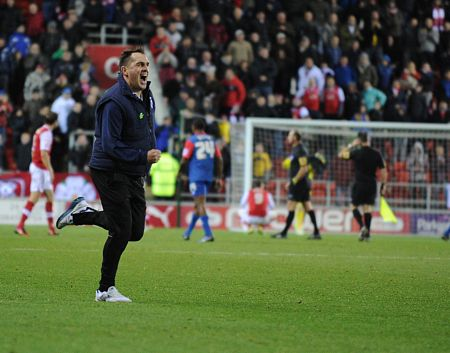 Martin Allen celebrates Gillinghams win at Rotherham