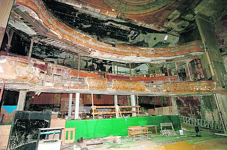 Inside view of the theatre taken when there were still hopes the building could be restored