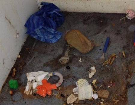Faeces smeared up the walls and rubbish such as tampon packets and razor blades at a Herne Bay flat