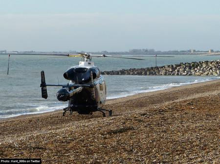 Air ambulance lands at Sandgate after fatal crash.
