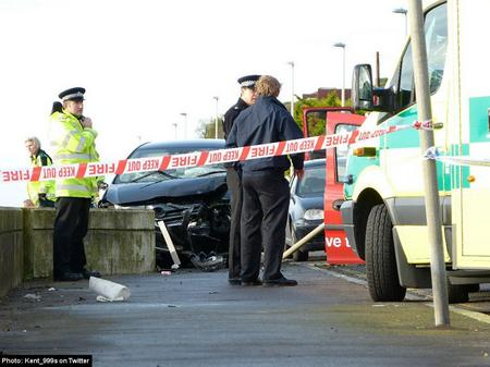 Police at the scene of the Sandgate fatal crash