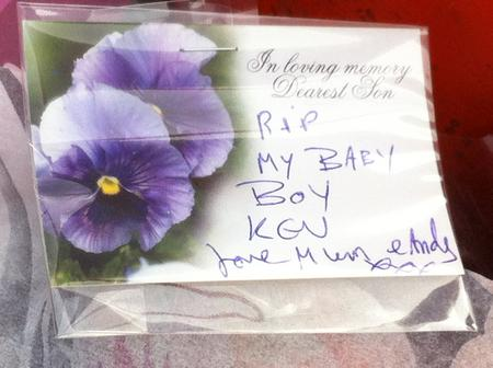 Flowers left at the scene of a shooting in Dartford in which Kevin Mckinley was killed.