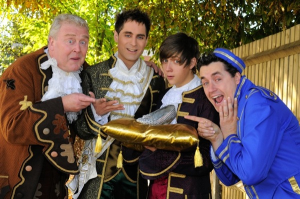 The boys - Baron Hardup (Paul Harris), The Prince (Peter Bliss), Dandini (Gerran Howell) and Buttons (Guy Pascall).