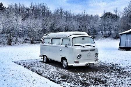 A VW campervan sets a beautiful snowy scene in Whitstable