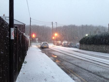 Snow falls in Higham in December 2012.
