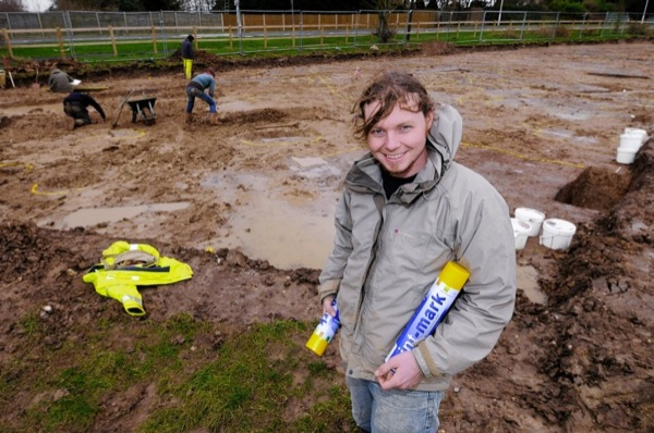Archaeologist Andy Margetts, with dig-marking paint, at the site off Leysdown Road.