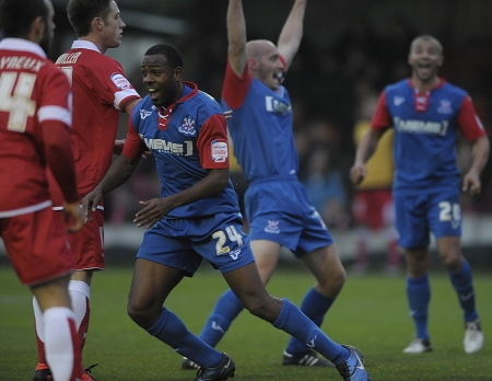 Myles Weston enjoys the moment after putting Gillingham ahead just before half-time against Accrington Stanley