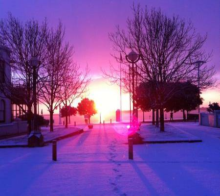 Sunrise in the snow on Dover seafront taken by Port of Dover worker Antigone Cote