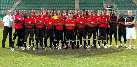 Kevin Harrison, far left, with the Central FC squad in California, Trinidad and Tobago