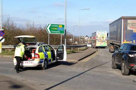 Police at the scene of a crash on the Thanet Way