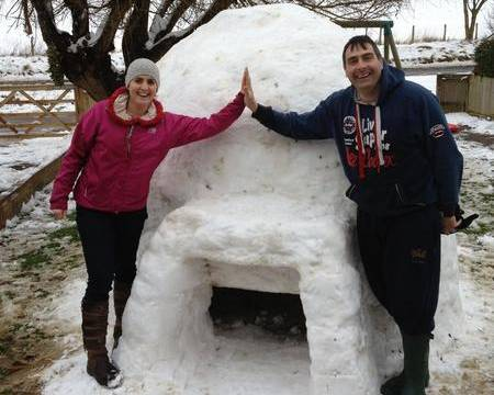 The Cunningham family from Alkham near Dover spent six hours building a huge igloo