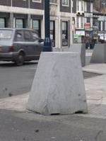 One of the moving bollards