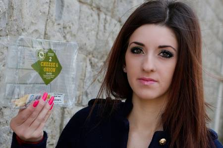 Natasha Duffy of Maidsone with the Tesco's vegetarian pasty which she claims contained meat.