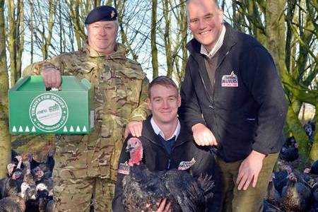 Father and son Clive and Scott Wreathall, of Appledore Turkeys, with Major Tony Finch. Picture: Adam Fradgley/Exposure Photography