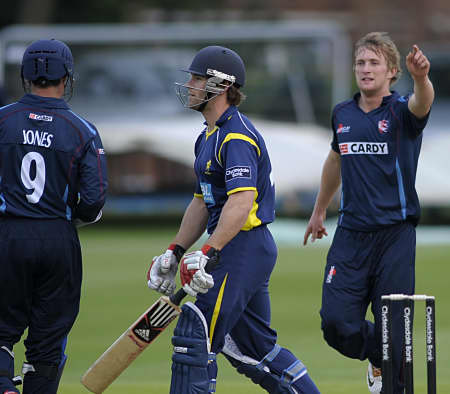 Adam Ball and Geraint Jones celebrate the wicket of James Ord